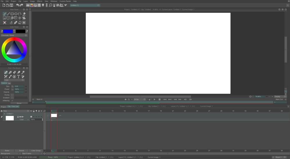 TVPaint Animation 11's interface