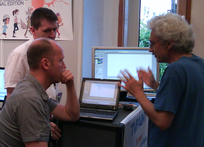 The TVPaint team talking with Mr. Kristof Serrand - Annecy 2011