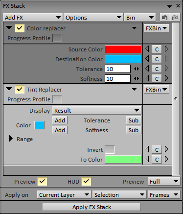 FX « Tint replacer » and « Color replacer »