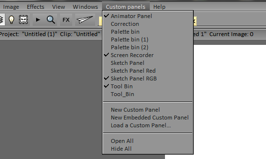 Separate Custom Panels menu