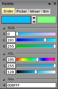 Colour Palette: Hexidecimal colour entry field