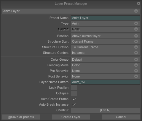 Layer Preset Panel