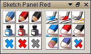 Sketch panel with Red Blue and Black colors