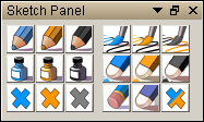 Sketch panel with Orange Blue and Black colors