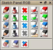 Sketch panel with Red Green Blue and Black colors