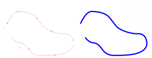 The Bezier spline : The Hud and the final render