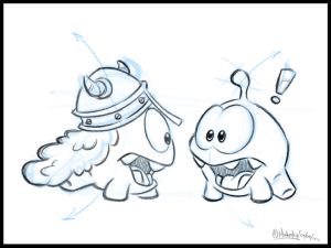 "Sketch for the game ""Cut the rope"", by Zeptolab."